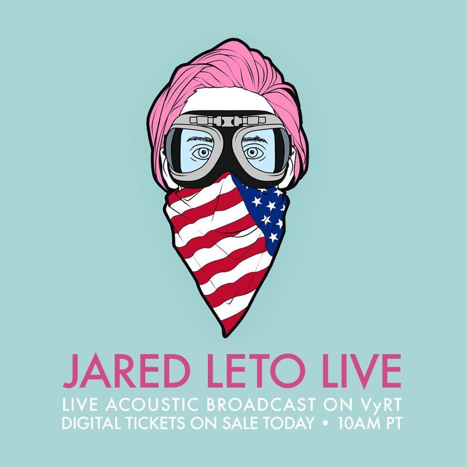 RT @30SECONDSTOMARS: DON'T FORGET. Tix for @JaredLeto Live on @VyRT, ON SALE TODAY • 10AM PT. | https://t.co/LltEUVhHDp https://t.co/IEU5W0…