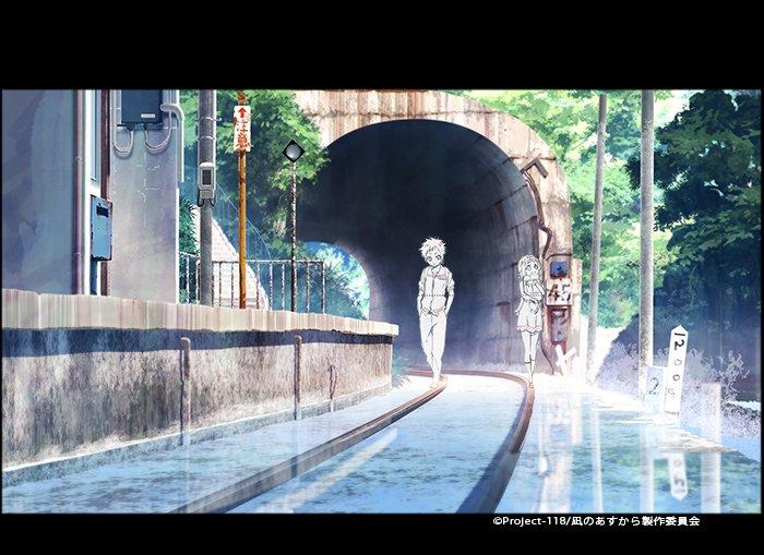 凪のあすから 今日の一枚。おしおおしにある分岐線の廃駅です。PV1の背景より。PVでしか観る事が出来ない絵ですが、2人の