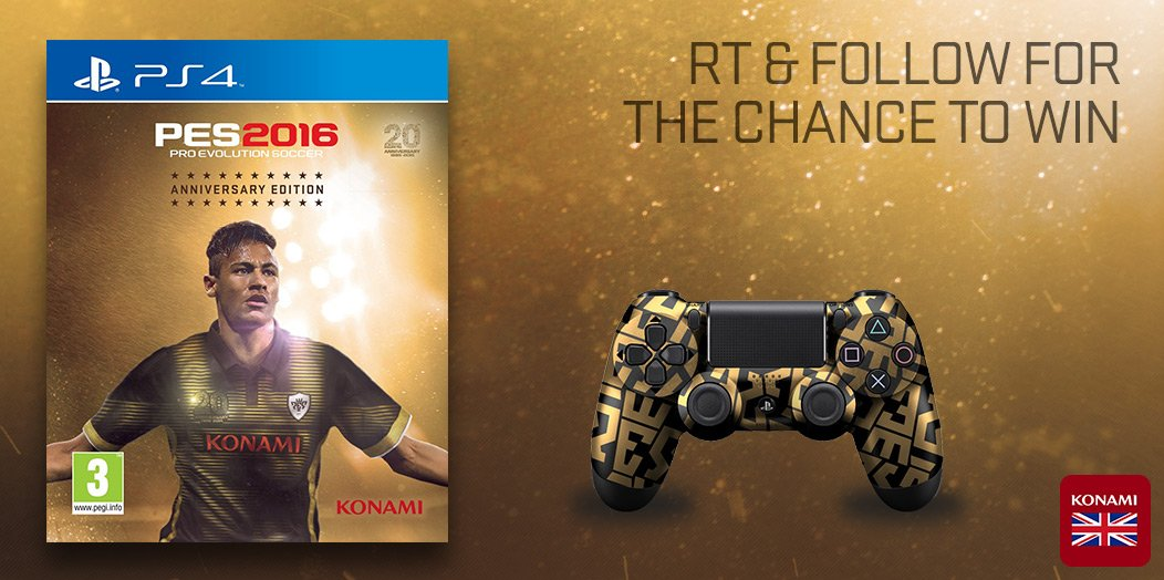 #GIVEAWAY: Retweet & Follow to win this #PES2016 Anniversary ed and PES pad for PS4. Competition closes 4PM 4/3/16. https://t.co/omqI5mfTxp