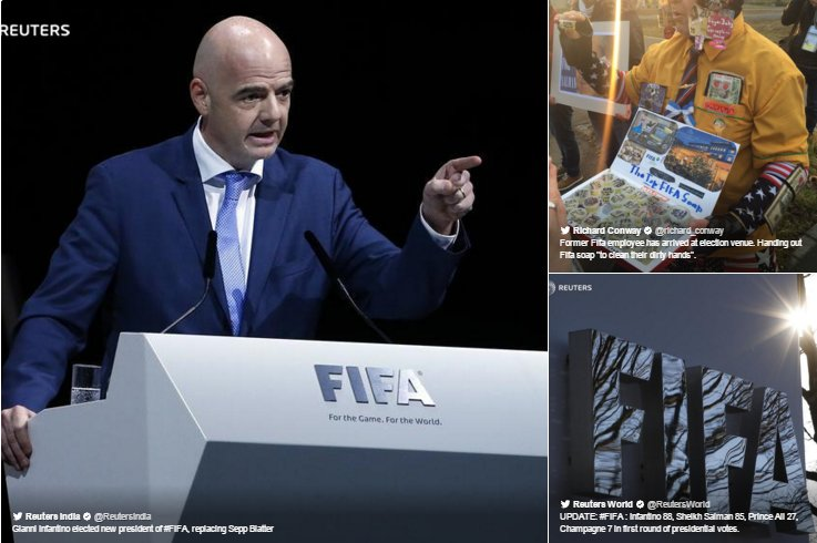 Gianni Infantino replaces Sepp Blatter as FIFA president. Here's the action on Twitter: