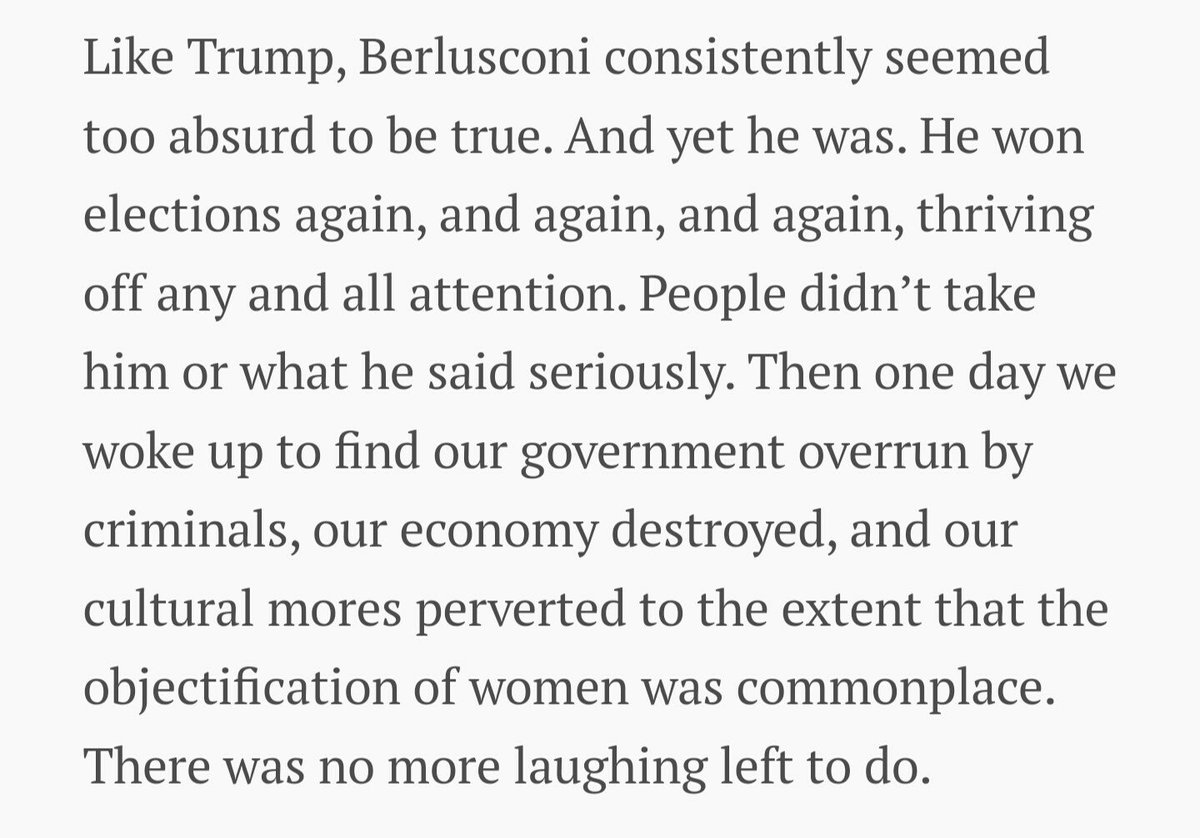 Donald Trump is not a joke: A warning to Americans from an Italian who survived Berlusconi https://t.co/hMkeJHPNrH https://t.co/zPZPOZJjz4