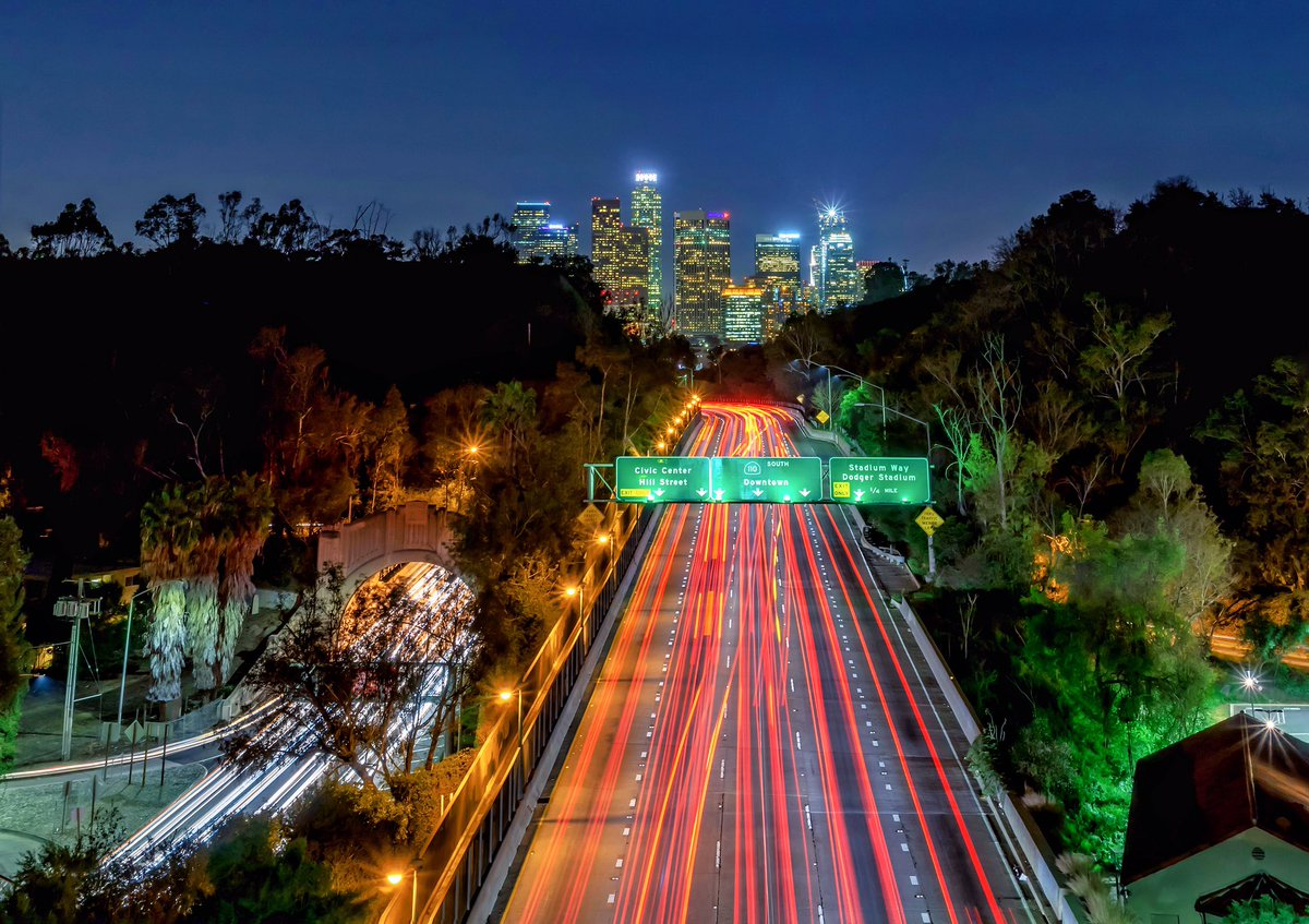 great view of dtla from the park row drive bridge nightphotography