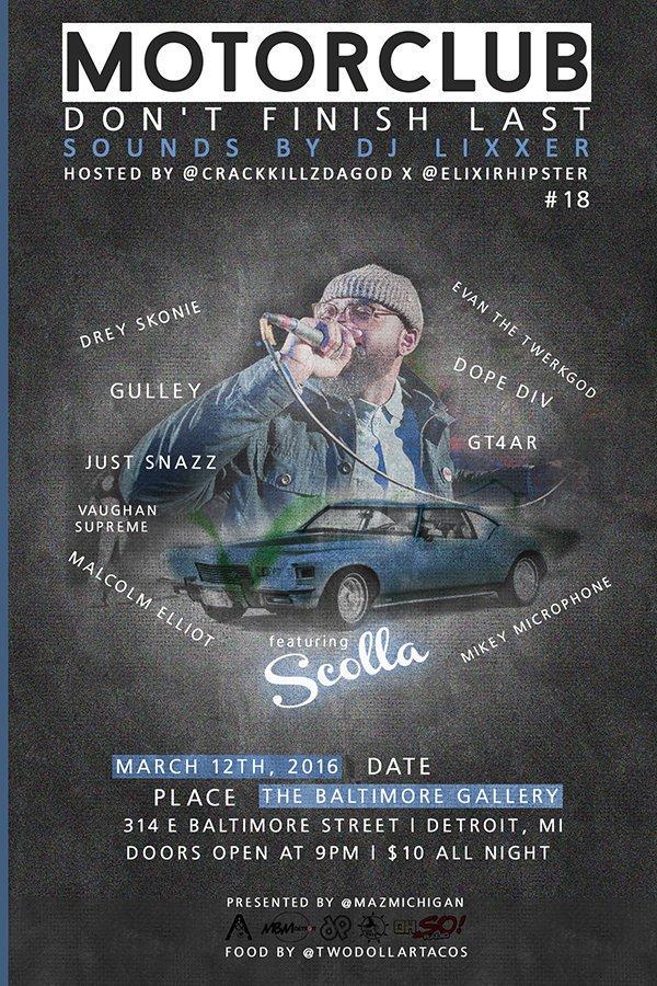#Motorclub18 w/ @Scolla313 @evanthetwerkgod+ March 12 Hosted by @CrackKillzDaGOD x @ElixirHipster Sounds x @DJLiXxer https://t.co/UoMXhwNwNj