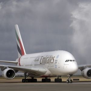 Emirates shows off its Airbus A380 superjumbo at Washington Dulles