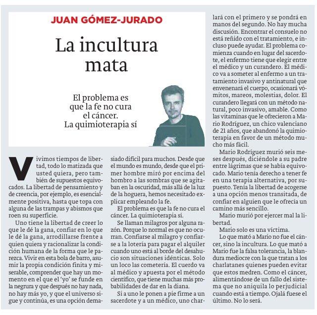 No vais a leer nada mejor hoy que esto de @JuanGomezJurado sobre incultura, libertad y seres imaginarios. https://t.co/gh6wpzbd3O