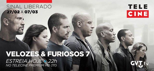 Hoje tem estreia de Velozes e Furiosos 7, às 22h, no #TCPremium HD (111) e com sinal liberado dos canais @Telecine! https://t.co/xqm9LwnEct