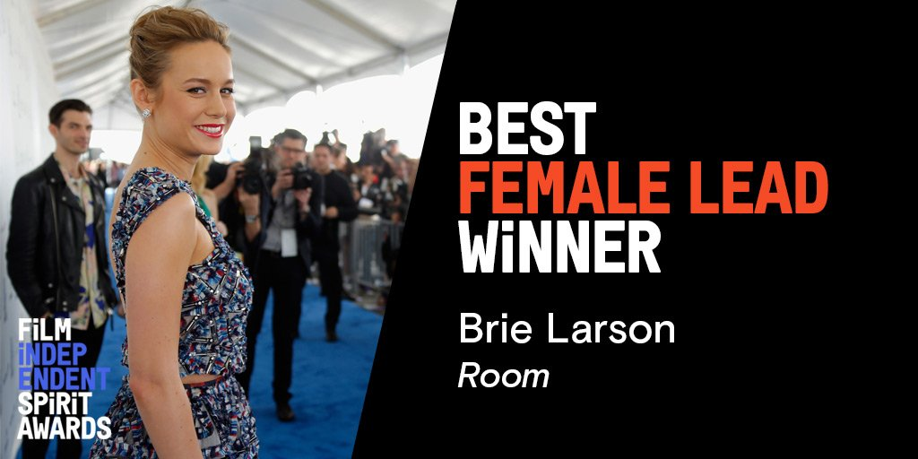 Congratulations on winning Best Female Lead @brielarson! #Roommovie #bestfemalelead #spiritawards https://t.co/sjUkvqkkPz
