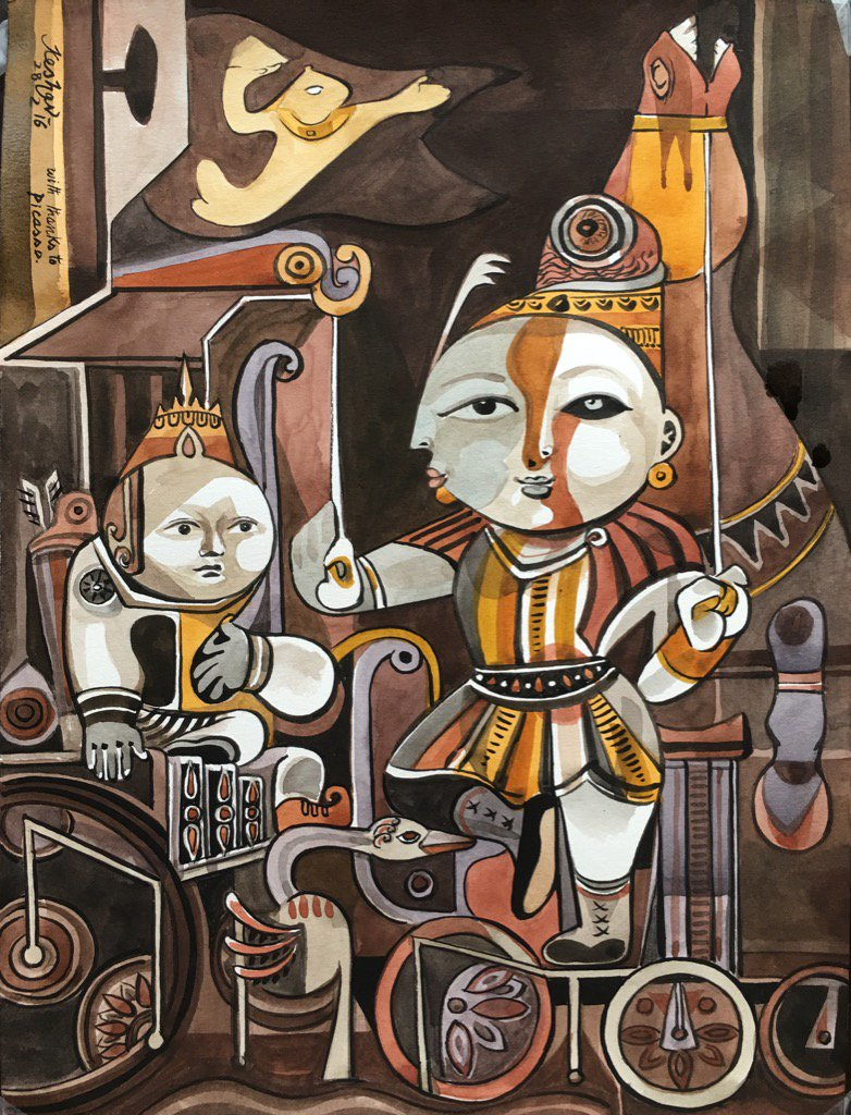 Picasso Krishna. Dialogues with Arjuna series. #krishnafortoday https://t.co/8NKmh0BGJR