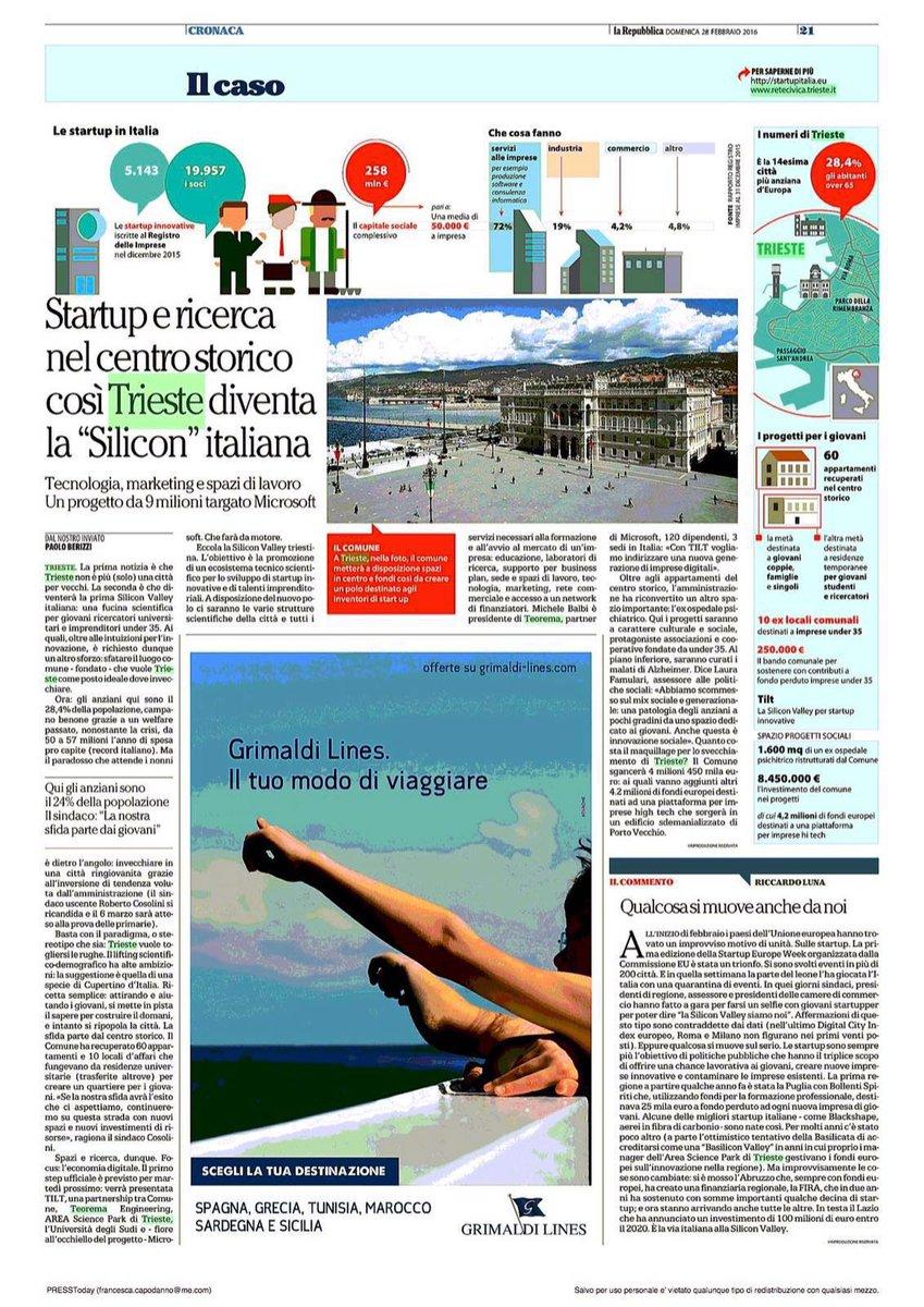 A #Trieste #startup e Ricerca @RobertoCosolini @LauraFamulari @AREASciencePark @microsoftitalia via @repubblicait https://t.co/8vgzq4xx0T