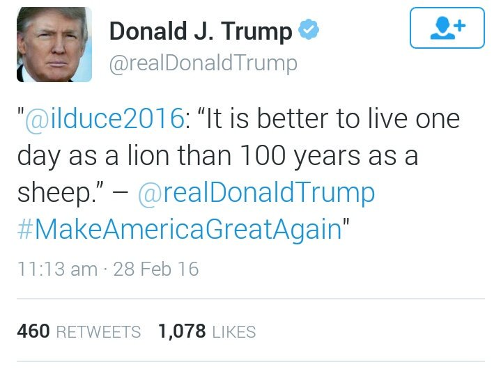 So to clarify: Donald Trump retweeted a parody account that attributes Mussolini quotes to Donald Trump. https://t.co/hyeNeqqe4o