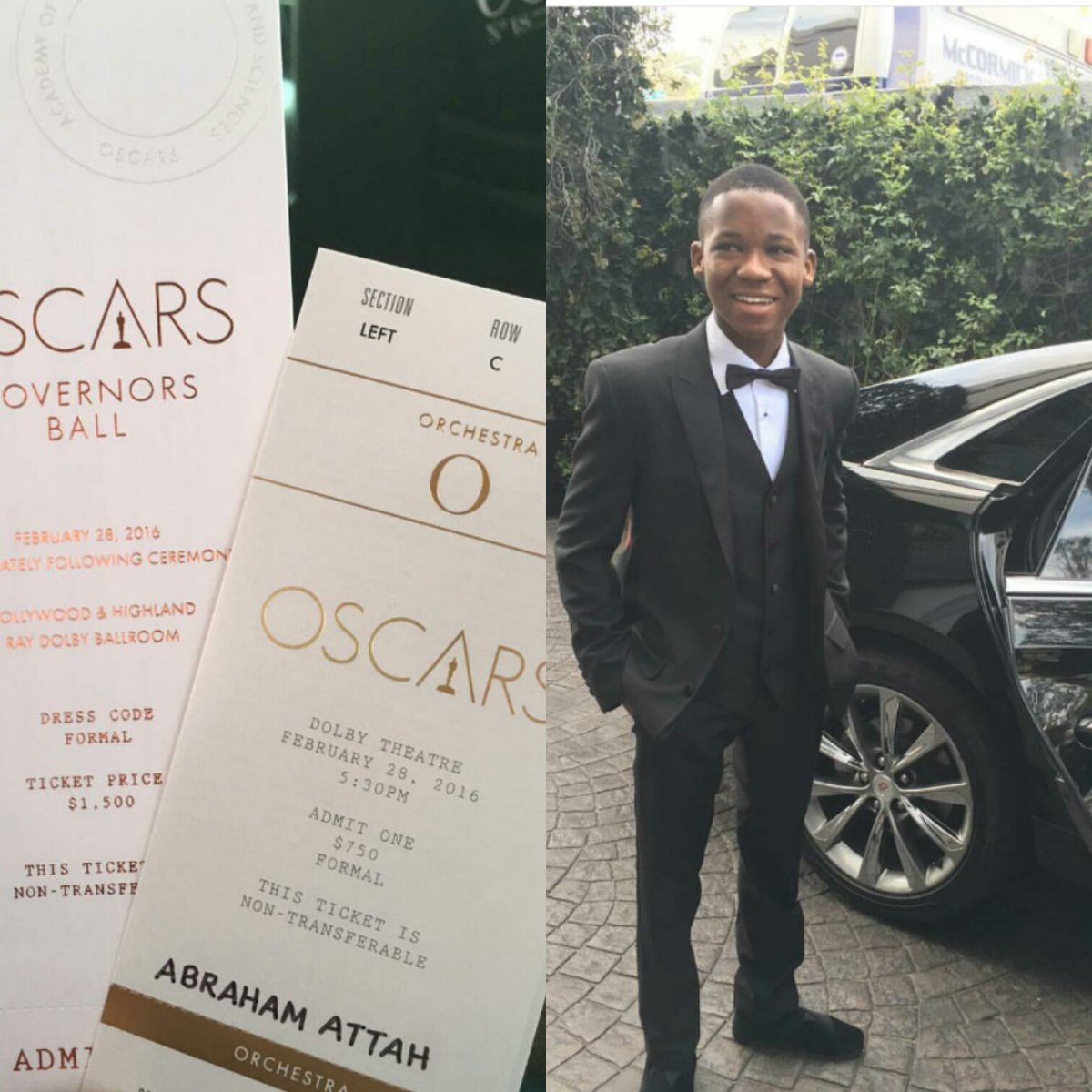 Ghana's Abraham Attah  to present an award at #Oscars tonight #Oscars2016 #OscarsSoWhite https://t.co/6RVCQqWbky
