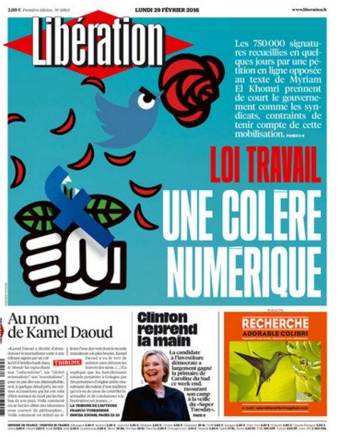 Pétition loi travail Une colère numérique (Une Libération lundi)+Tribune de  Fawzia Zouari