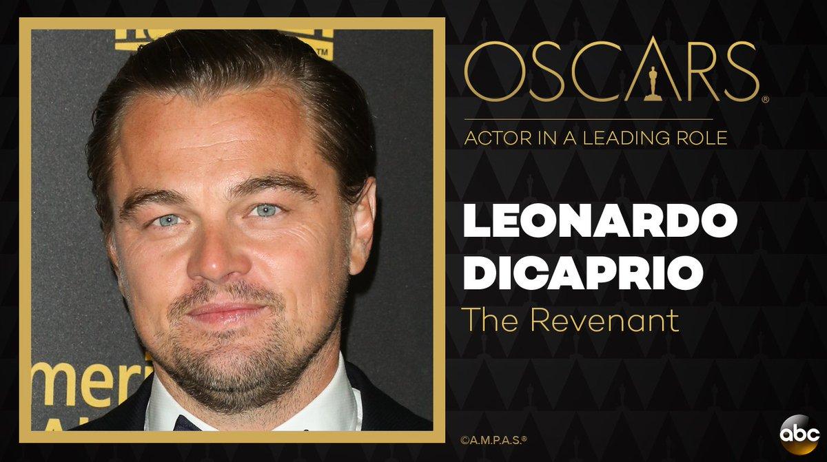 The #Oscar for Best Actor in aLeading Role goesto Leonardo DiCaprio for The Revenant. #Oscars