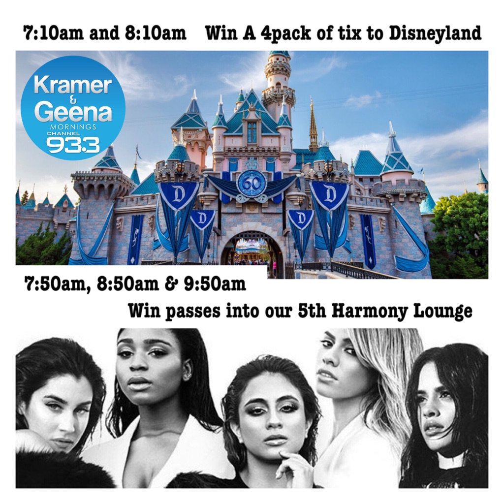 Tomorrow am U could win 1 of these. #disneyland tix or pass to our @fifthharmony lounge #harmonizers @kramerandgeena https://t.co/Wr0sS1f5gJ