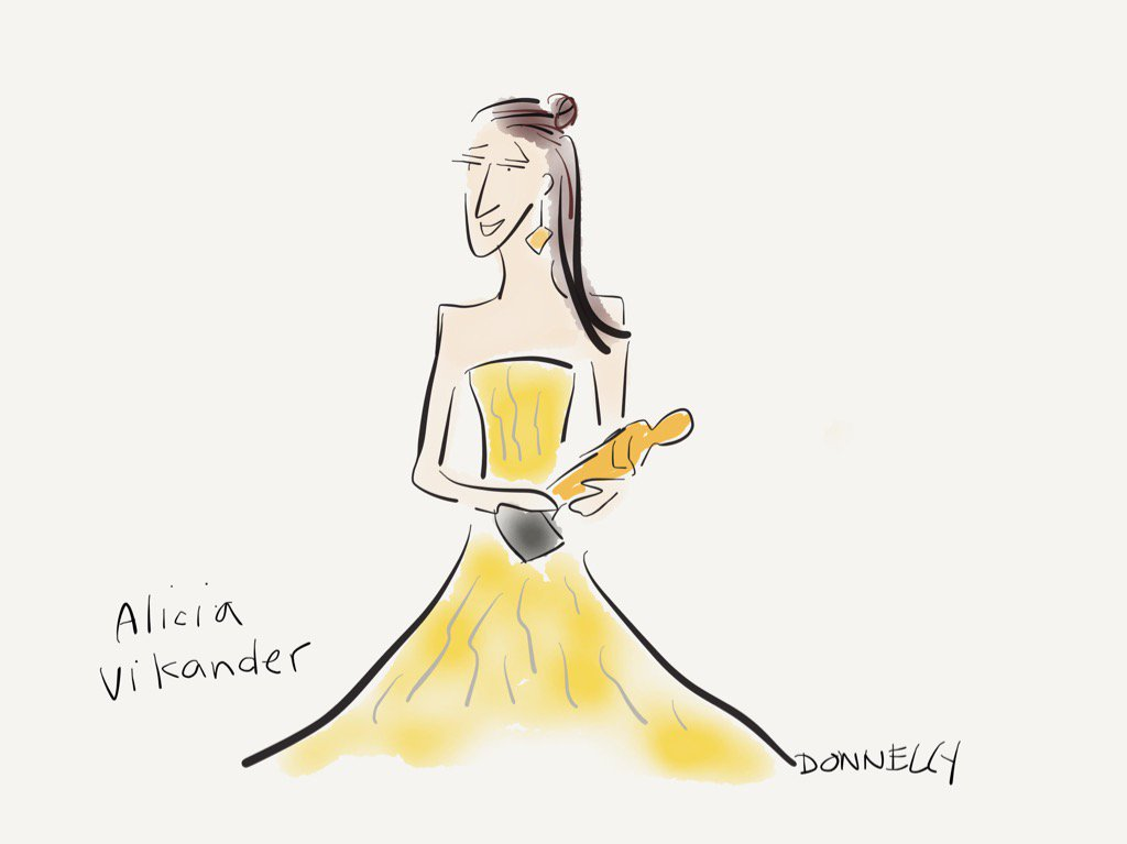 Alicia Vikander in press room answering questions. #oscars https://t.co/n9GhGvgE8z