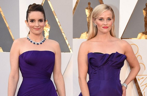 Tina Fey and Reese Witherspoon are look-alikes in matching purple gowns at the Oscars: