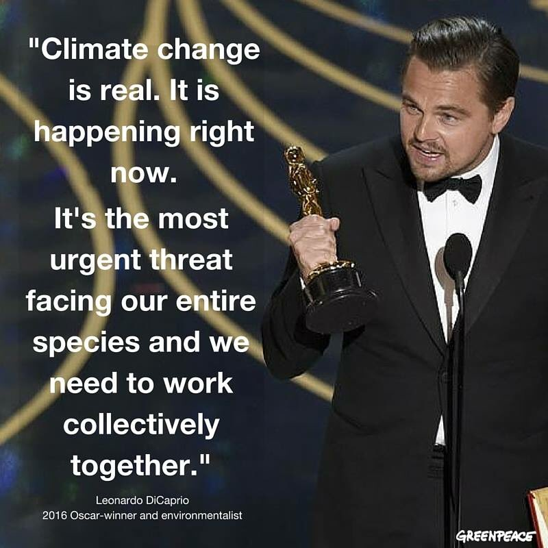 Uses Best Actor acceptance speech to call the world to action against climate change.Take a bow DiCaprio you #legend https://t.co/g0M5VPZvdk