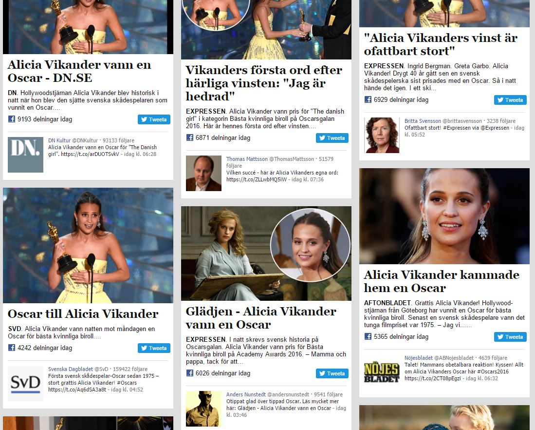Absolutely no doubt what's trending in #Sweden today! First acting Oscar for Sweden since 1974, for #AliciaVikander https://t.co/5iuZYP2WOM