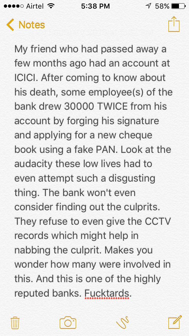 My friend who had passed away a few months ago had an account at ICICI. After coming to know about his death... https://t.co/Nd3EjMIMqH