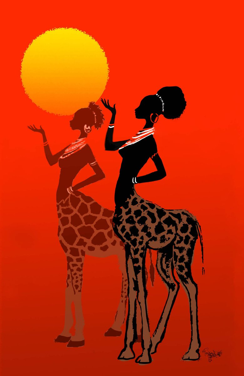 Who's gonna write something about these beautifully illustrated giraffe-centaur goddess(es)? https://t.co/fOzTHnzRzH https://t.co/Pst4tFYcUz