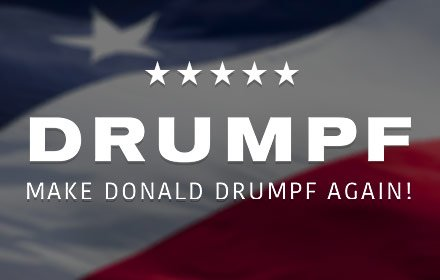 Make @realDonaldTrump DRUMPF again // https://t.co/2z77Yae22x #makeDonaldDrumpfAgain https://t.co/6StG1uUrmn