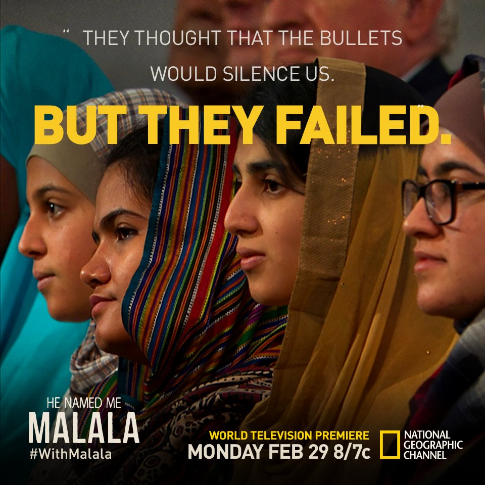Ready to get inspired + stand #withMalala? Tune into commercial-free premiere tonight! @NatGeoChannel 2/29 8ET/7CT https://t.co/MtSTz8Lki7