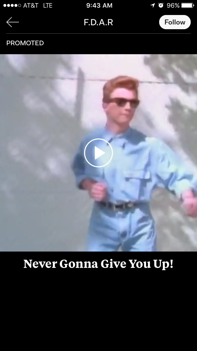 Totally rick rolled by my own ad products as a farewell prank. Nicely done, @paulskatz and @Flipboard adops. https://t.co/2tlsqHrsD3