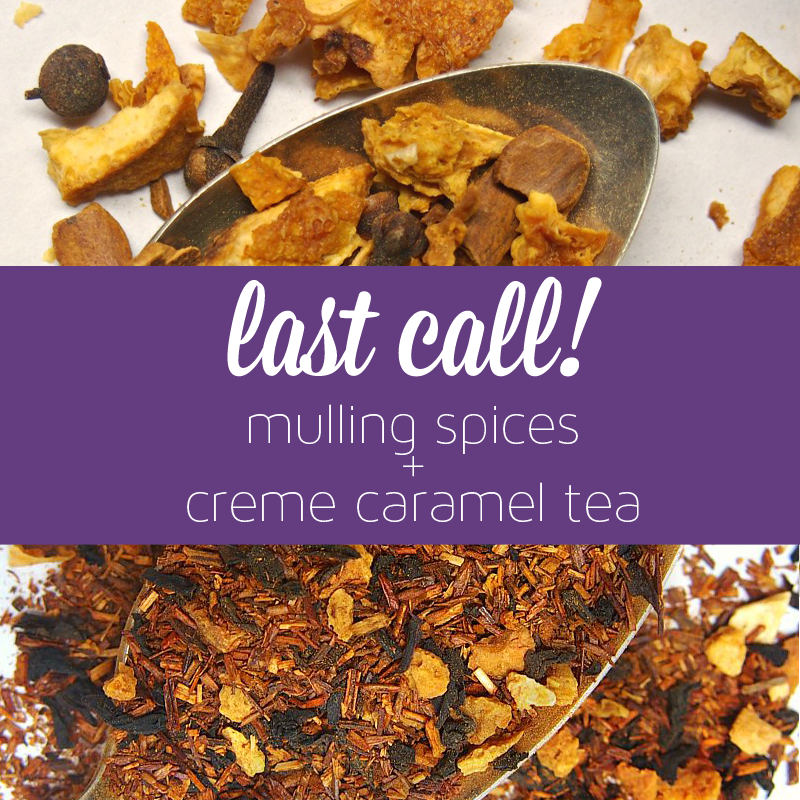 Last call! Our mulling spices and Creme Caramel Tea will be leaving the online shop! https://t.co/JWmlsuvuof https://t.co/u1knO3Gqyx