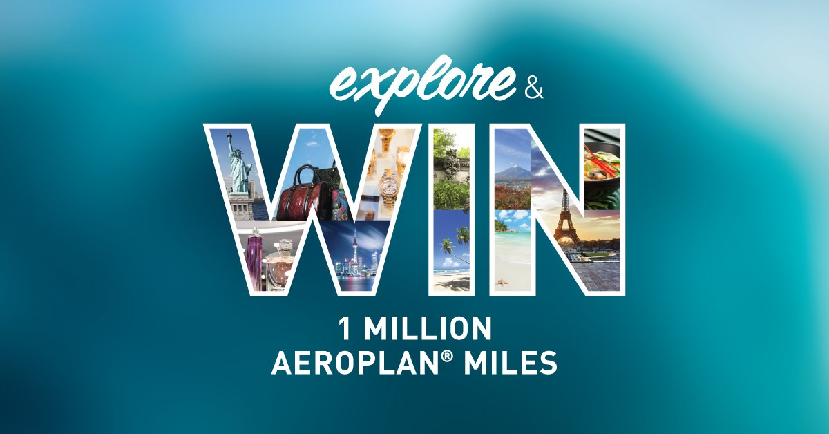 Explore & win 1 Million @Aeroplan Miles at YVR. No typo. One. Million. Miles.