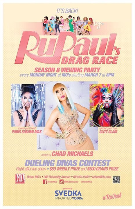 RuPaul's Drag Race S8 View prty hstd by @ChadMichaels1 tbls avail @ 7, show @ 8.Then check out Dueling Divas Week 1!
