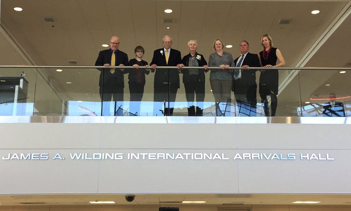 Int'l arrivals hall at @Dulles_Airport named for our 1st President/CEO James A. Wilding