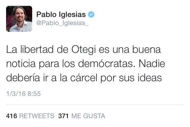 Otegi fue condenado por la Justicia por pertenencia a banda armada. Encarcelado por sus ideas está  @leopoldolopez https://t.co/kiIQFAdBIo