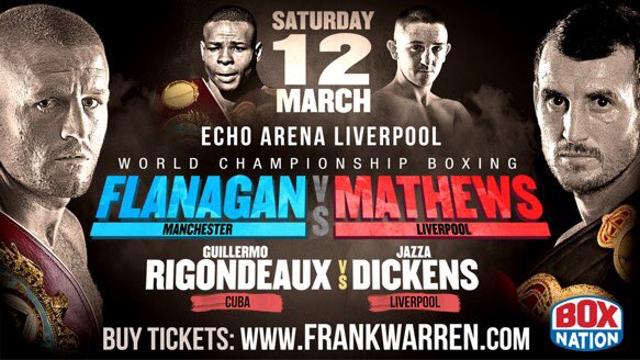 Competition!RT for your chance to win 2tickets to the huge World title card on 12March #FlanaganMathews #RigoJazza https://t.co/6a2zufnZN9