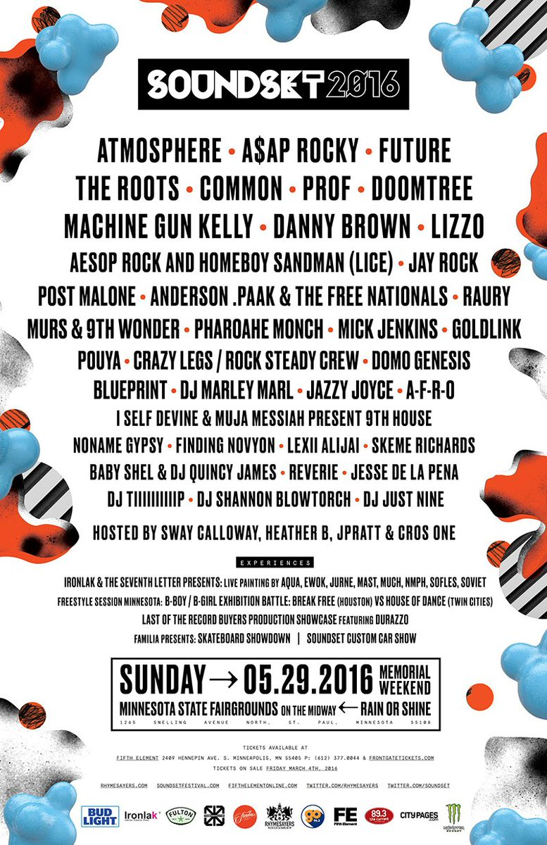 The official #Soundset2016 lineup is here! Tickets on sale THIS FRIDAY at 11 AM CST. https://t.co/Y2HQmnhpAi