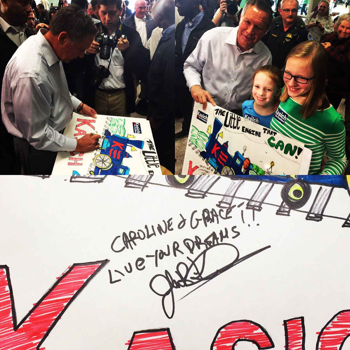 "Great @JohnKasich event! Little Engine poster signed, ""Live Your Dreams!"" #VAPrimary #SuperTuesday #Kasich4Us https://t.co/IVCGhbK9jD"
