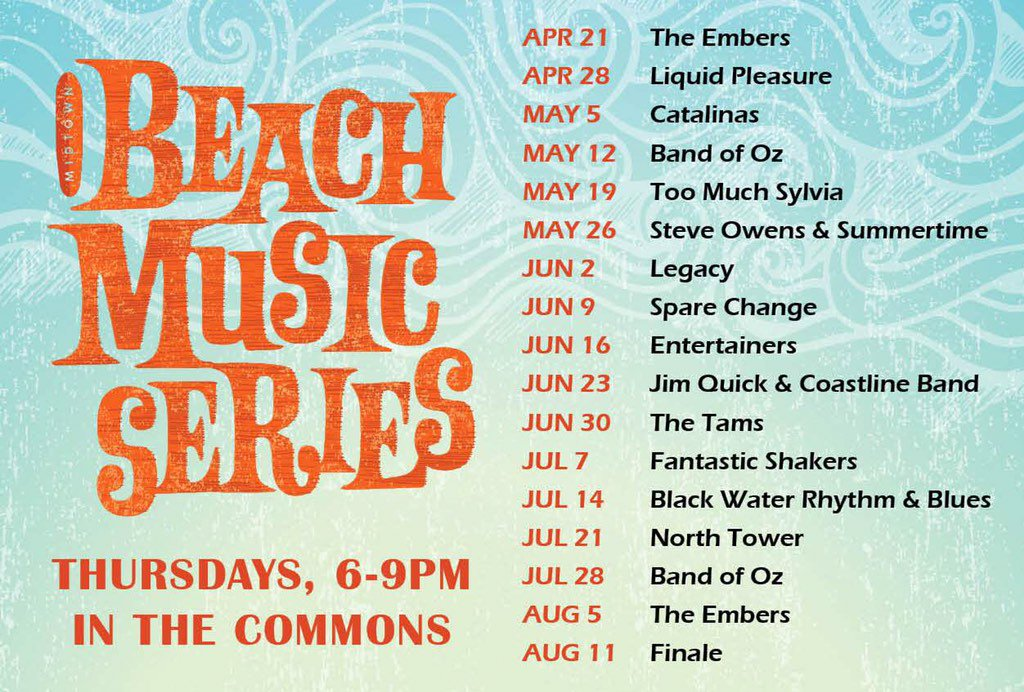 Announcing the 2016 Midtown Beach Music Series Line-up! 52 days and counting... #MidtownBeachMusic @WRALOutandAbout https://t.co/GYp9JKAPXR