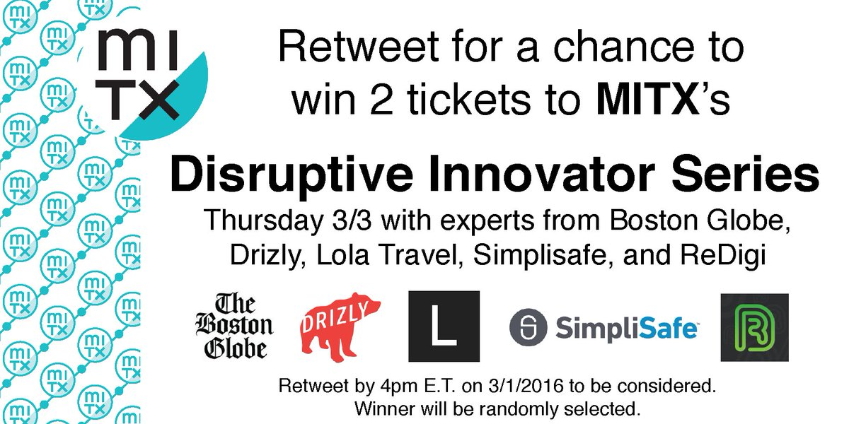 Retweet for a chance to win 2 tix to Thursday's #MITXDisrupt! Find more event details at https://t.co/ABn7SdHYeE https://t.co/FeJtxROrRI