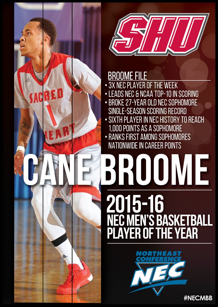 Since he was a UNANIMOUS choice, how about a RT for @SHUBigRed's Cane Broome - the 2016 #NECMBB Player of the Year?! https://t.co/yPnJisPNGH