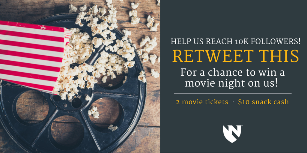 #SpringBreak is perfect for a movie on us! RT THIS to help us reach 10K Twitter followers, and a chance to win! https://t.co/2TCfZAkPxy