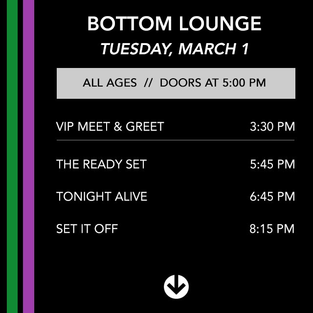 UPDATE: Due to the inclement weather, @SayWeCanFly will not be performing tonight.  Set times as follows: https://t.co/2bpRwgY97n
