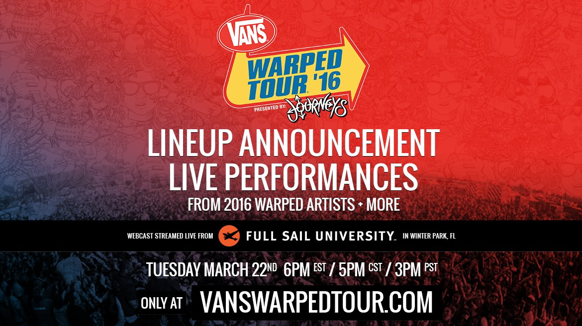 Tues Mar. 22nd @ 6pm EST & LIVE from @FullSail University the 2016 @VansWarpedTour lineup will be announced. https://t.co/4XPSyNyxkX