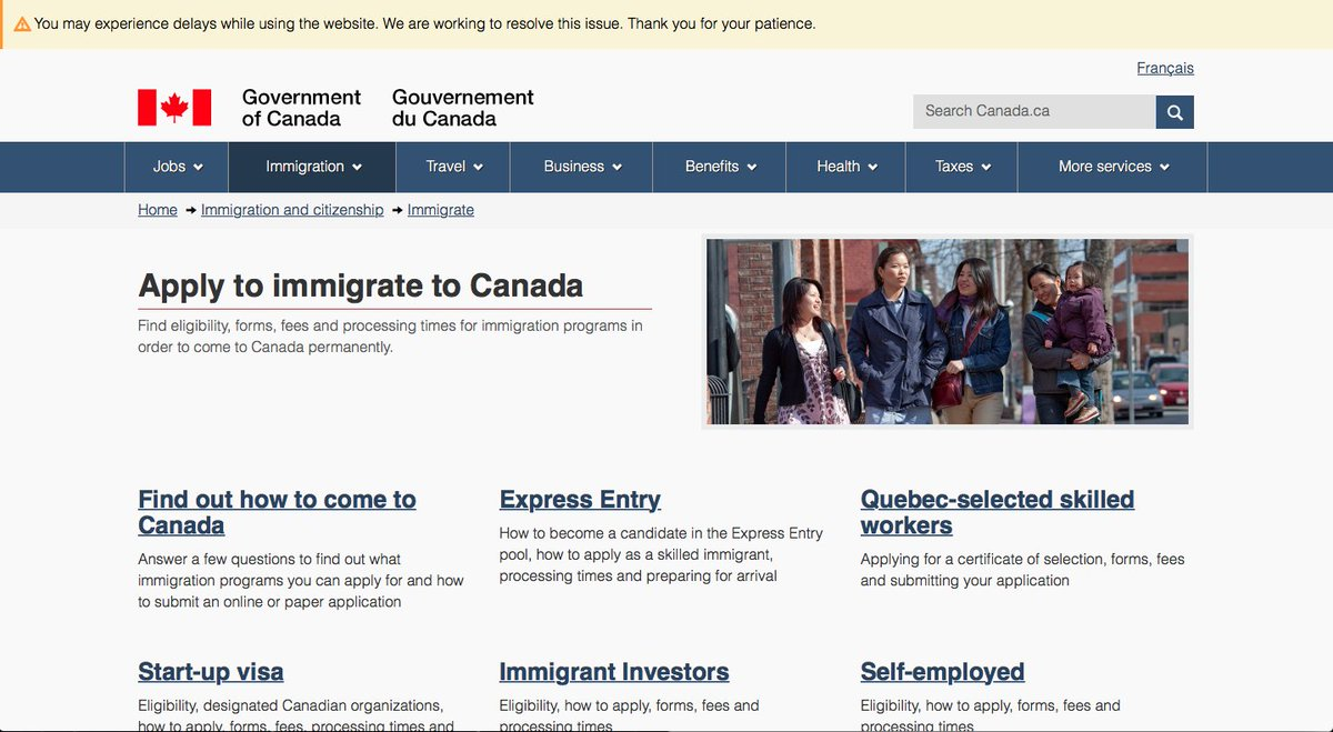 Canadian immigration website currently experiencing issues. https://t.co/irHdih84c3