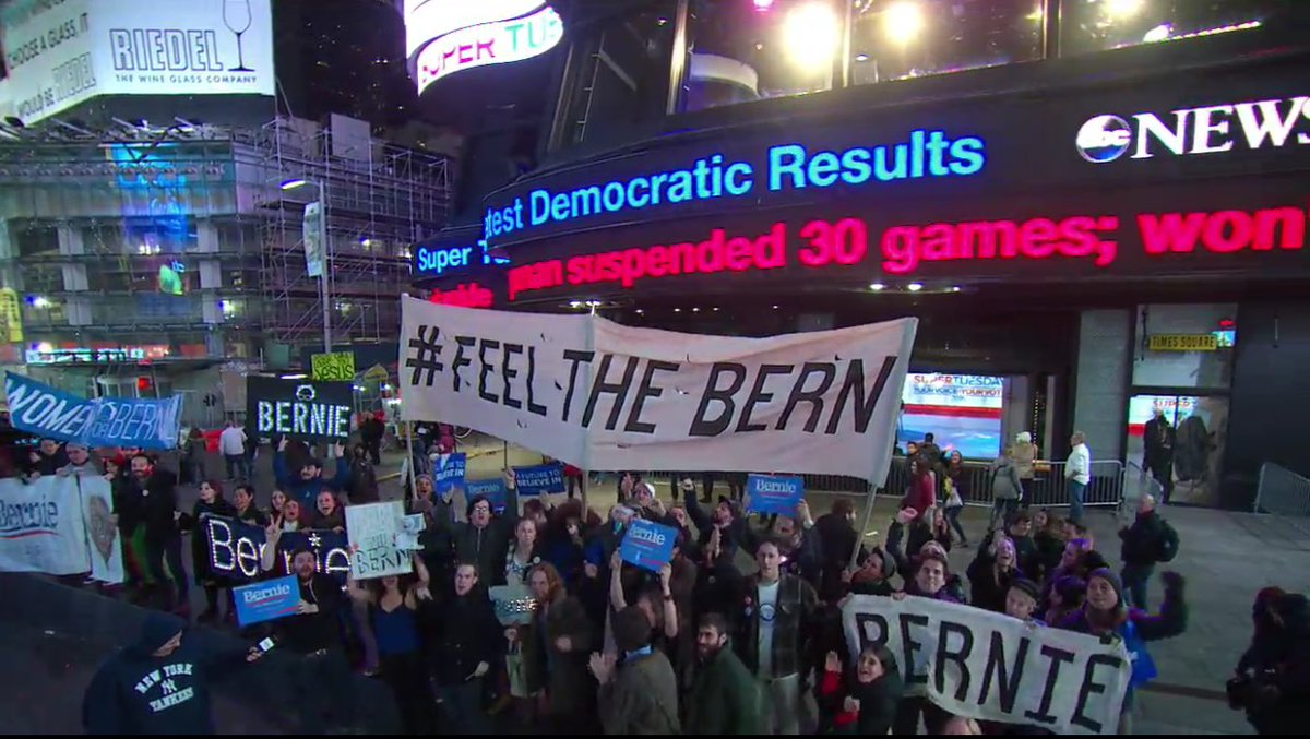 .@SenSanders supporters gather outside @ABC News' Election HQ in Times Square #SuperTuesday https://t.co/SX1EpvOQb6
