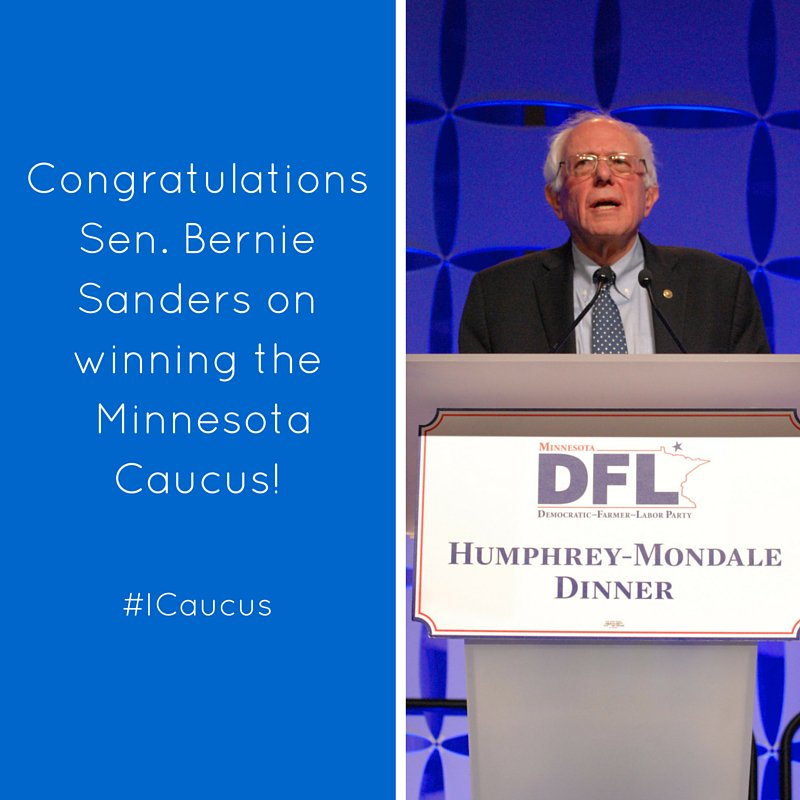 Congratulations to Senator Bernie Sanders on winning the Minnesota Caucus! #ICaucus https://t.co/YTGuVzLbpK