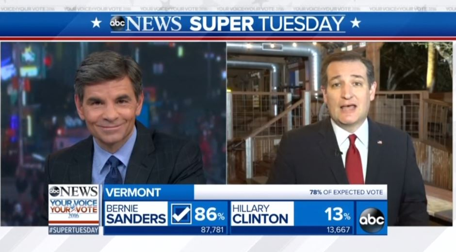 Ted Cruz Mocks Stephanopoulos: Hillary Clinton Is 'Your Former Boss' https://t.co/LXLQORCVhS #SuperTuesday https://t.co/SjFVsaDUbH