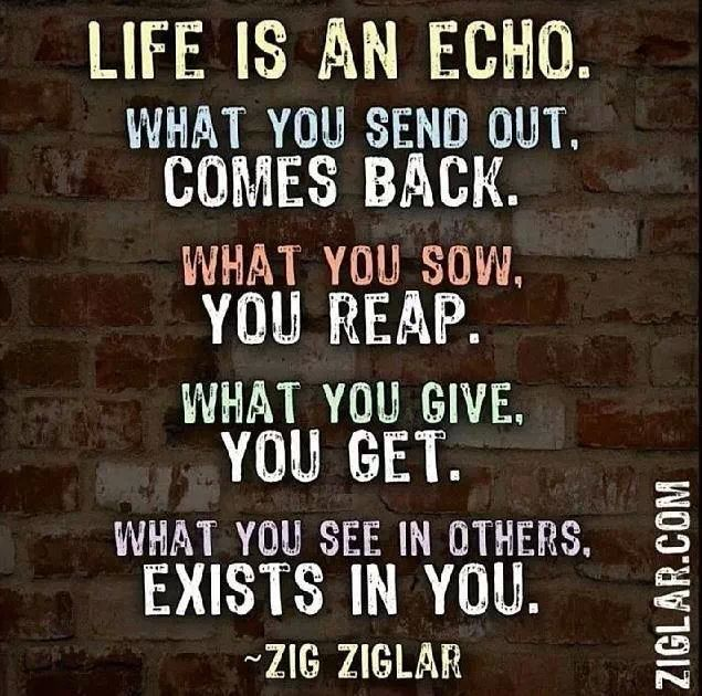 Life is an echo. What are you putting out into the world? #WednesdayWisdom https://t.co/xsKGruWBxY