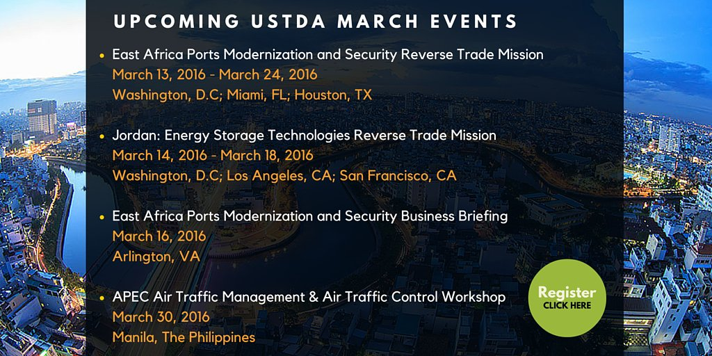 RT @USTDA: Join @USTDA this month! Here are all upcoming March events. Register now!