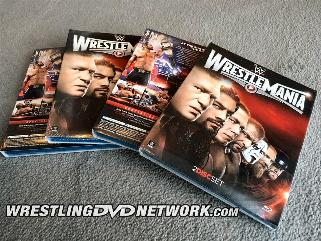 #GIVEAWAY TIME! #WIN 1 of 4 #WrestleMania Blu-rays! How? Just **FOLLOW** & **RT**. Details @ https://t.co/7C7uOM07nG https://t.co/YqQq0lsTDe