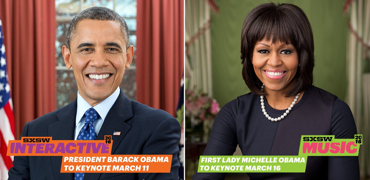 #SXSW announces President Obama @POTUS and First Lady Michelle Obama @FLOTUS as Keynotes. https://t.co/WSGBUaCd16 https://t.co/SDZdOuUYrB