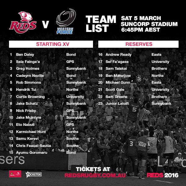 NEWS | #RedsRugby side named for RD2 #SuperRugby clash v @westernforce at @suncorpstadium: https://t.co/ER4MNoYFAO https://t.co/SxrXhlXRgG